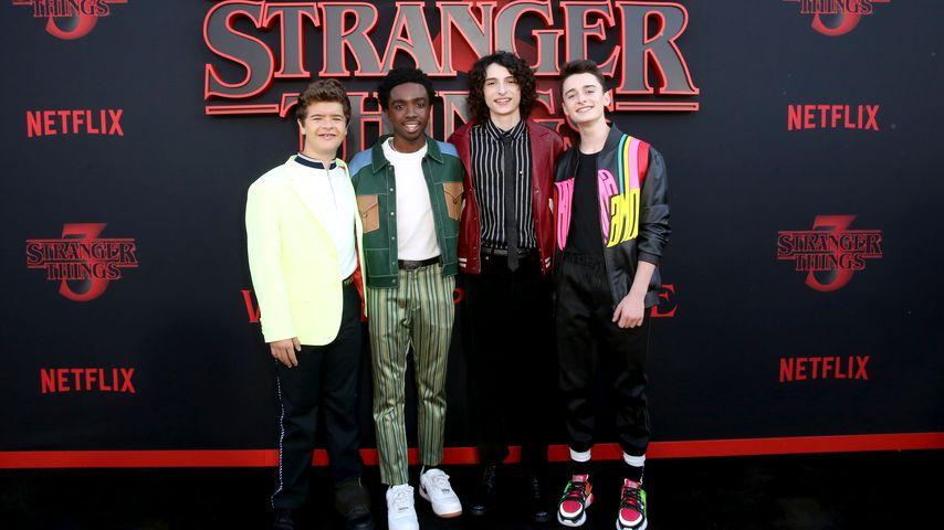 "Gaten Matarazzo, Caleb McLaughlin, Finn Wolfhard und Noah Schnapp bei der ""Stranger Things""-Premiere"