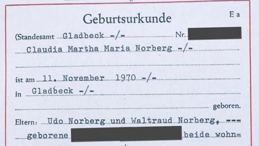 Claudia Norbergs Geburtsurkunde
