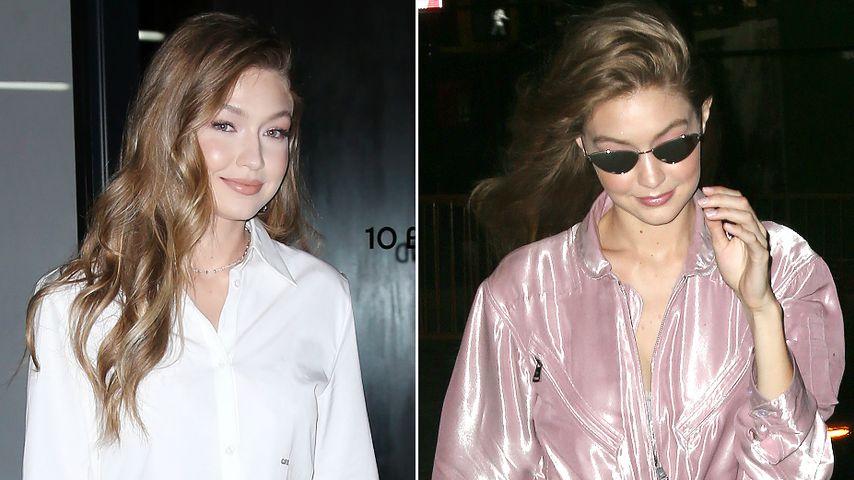 Kuriose Looks: Gigi Hadid mit Augen-Rock & Glitzer-Overall