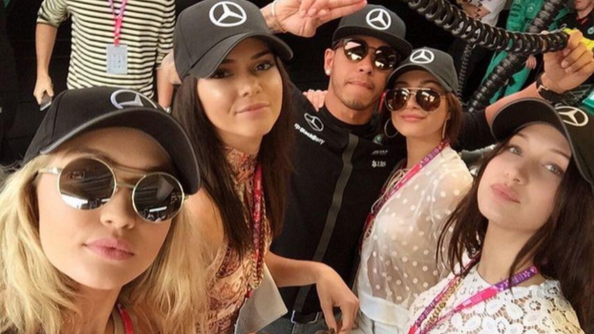 Gigi Hadid, Kendall Jenner und Lewis Hamilton