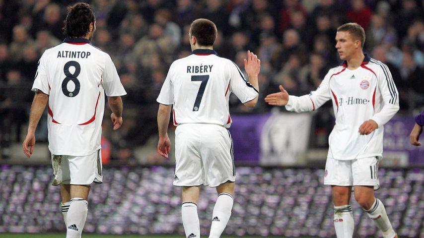 Franck Ribéry und Lukas Podolski gemeinsam beim FC Bayern München