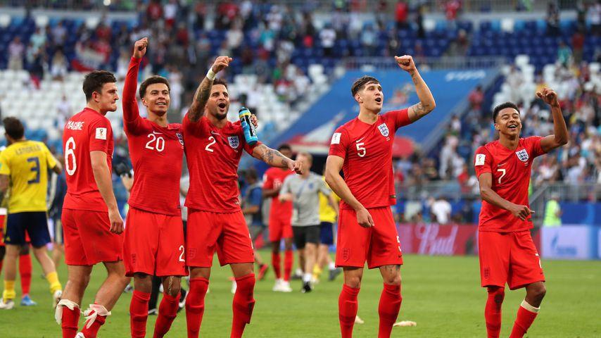 Harry Maguire, Dele Alli, Kyle Walker, John Stones und Jesse Lingard (v.l.) beim WM-Viertelfinale in