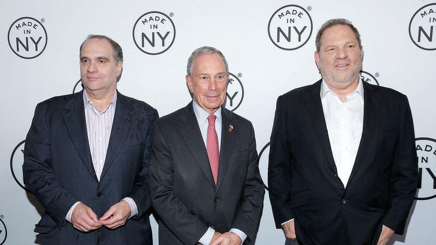 Bob Weinstein (links) und Harvey Weinstein (rechts) mit Michael Bloomberg (mittig)