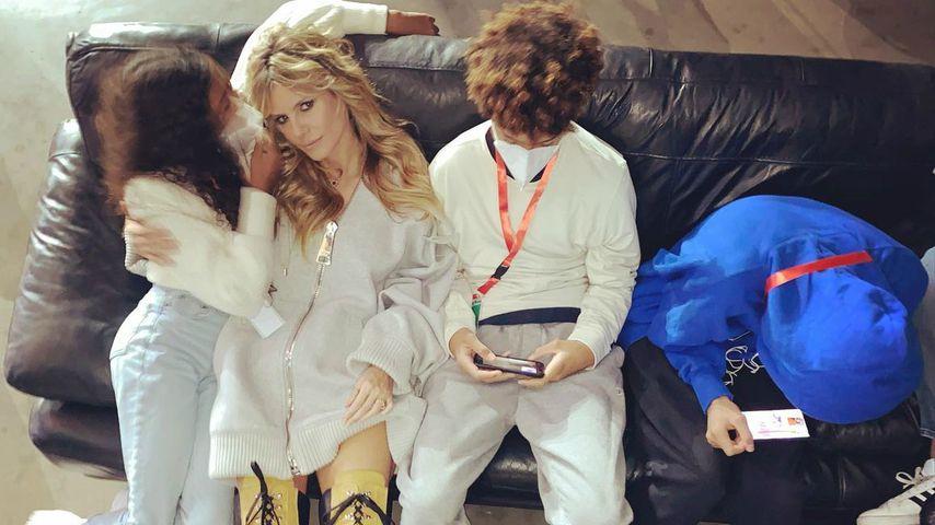Heidi Klum mit ihren Kindern am GNTM-Set