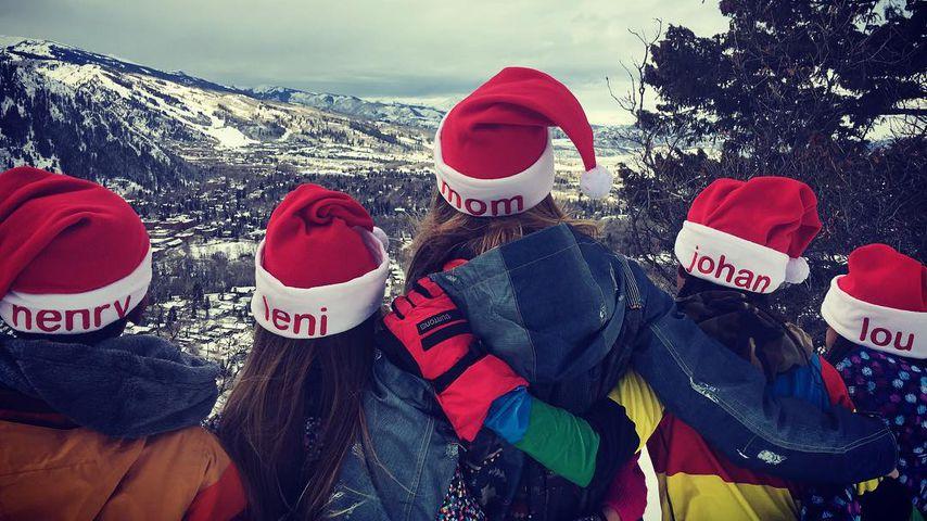 Heidi Klum mit ihren vier Kindern Henry, Leni, Johan und Lou in Aspen