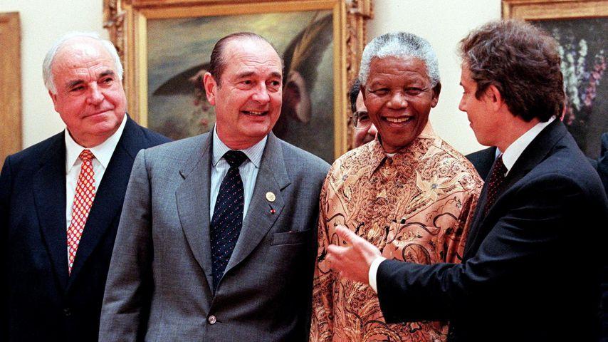 Helmut Kohl, Jacques Chirac, Nelson Mandela und Tony Blair, 1998