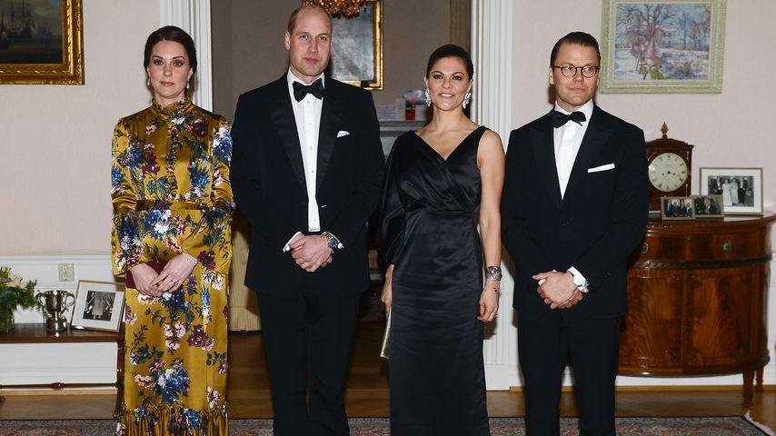 Herzogin Kate, Prinz William, Prinzessin Victoria und Prinz Daniel von Schweden