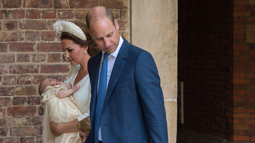 Herzogin Kate und Prinz William mit ihren Kindern Louis, George und Charlotte, 2018