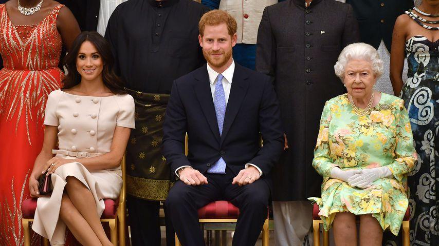 Herzogin Meghan, Prinz Harry und Queen Elizabeth II