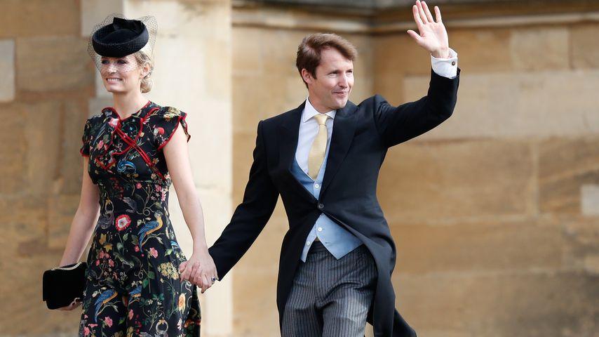 James Blunt (rechts) und seine Frau Sofia Wellesley bei der Hochzeit von Prinzessin Eugenie