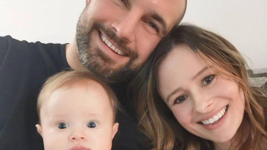 Jamie Jewitt, Camilla Thurlow und ihre Tochter Nell im Februar 2021