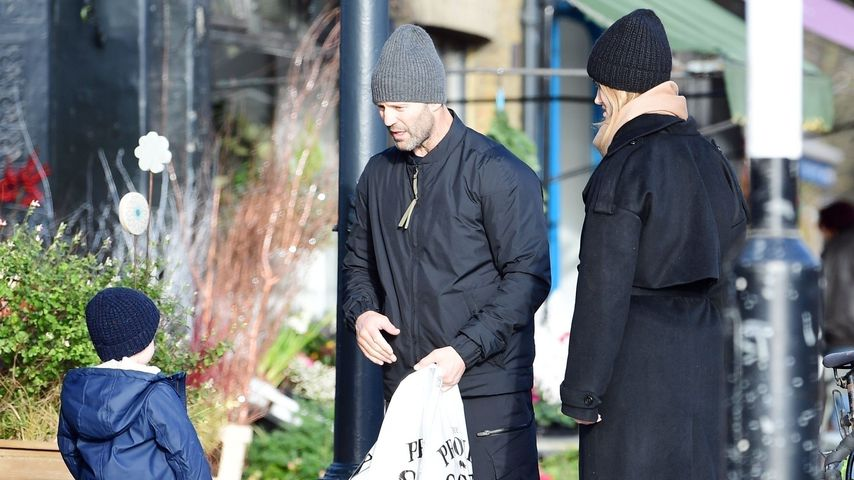 Jason Statham und Rosie Huntington-Whiteley mit ihrem Sohn Jack in London