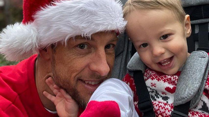 Jenson Button mit seinem Sohn Hendrix