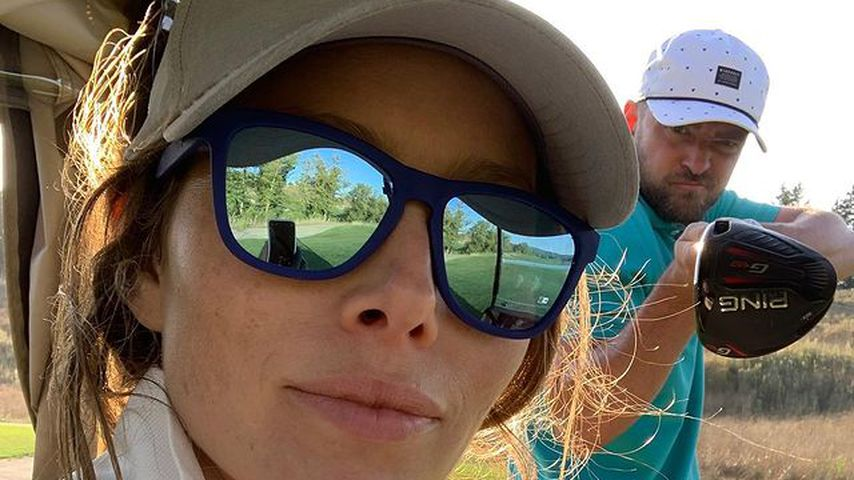 Schauspielerin Jessica Biel und Sänger Justin Timberlake beim Golfen