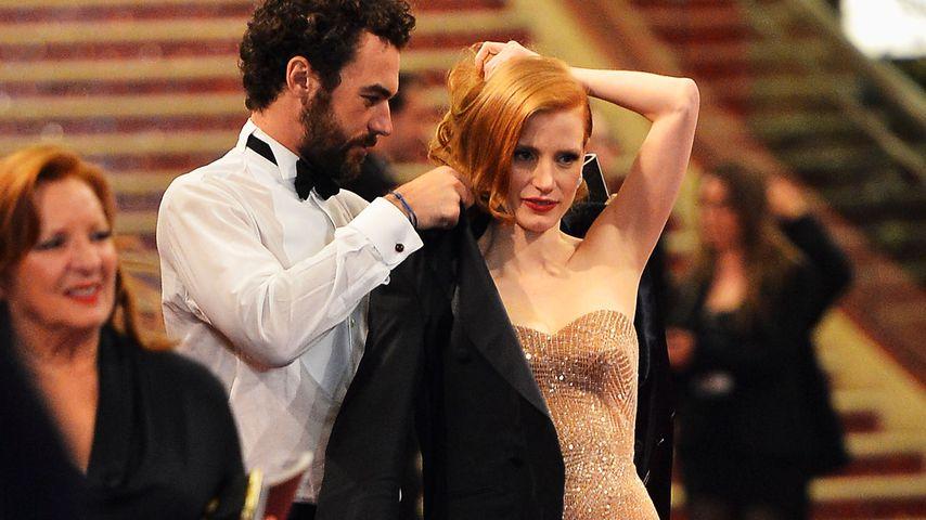 Jessica Chastain und Gian Luca Passi de Preposulo nach der Oscar-Verleihung 2013
