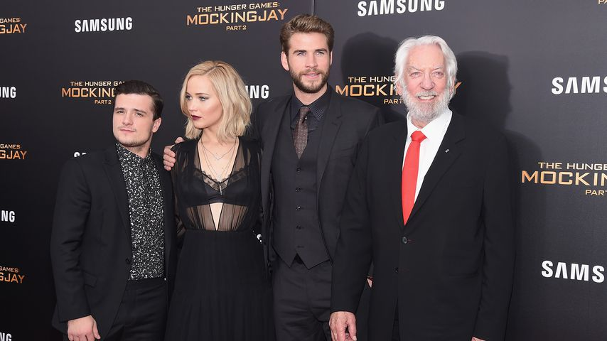 Josh Hutcherson, Jennifer Lawrence, Liam Hemsworth, und Donald Sutherland