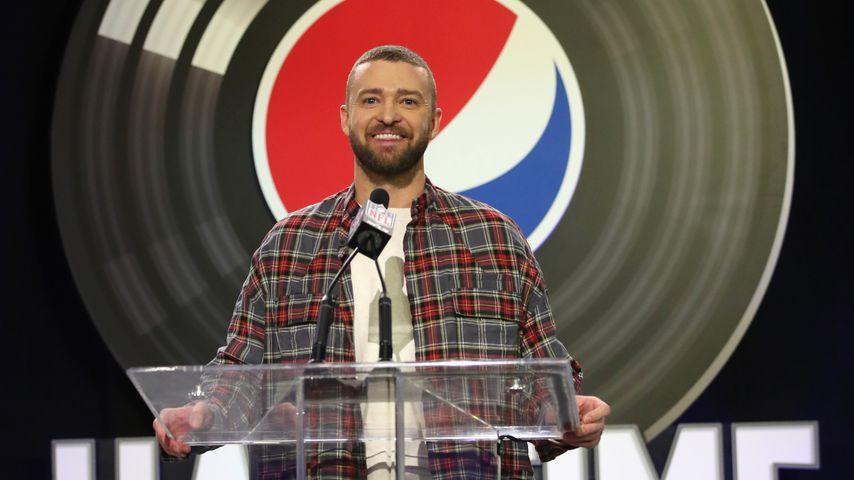 Justin Timberlake bei der Pressekonferenz des Super Bowls