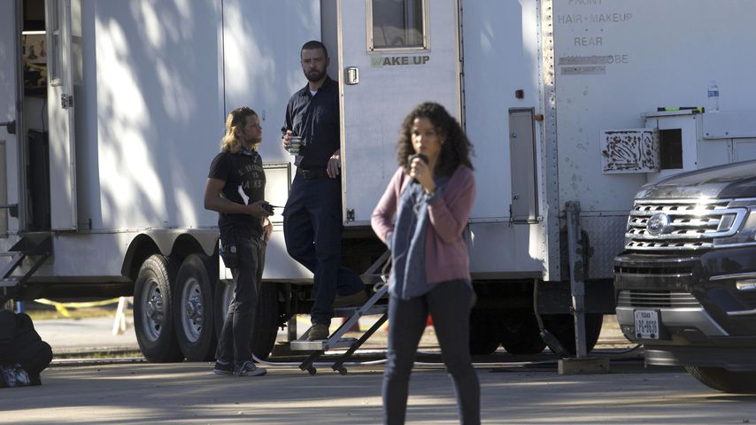 Justin Timberlake und Alisha Wainwright am Drehset