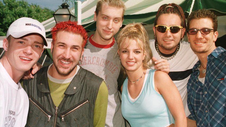 Justin Timberlake, Joseph Fatone, Lance Bass und Britney Spears in jungen Jahren