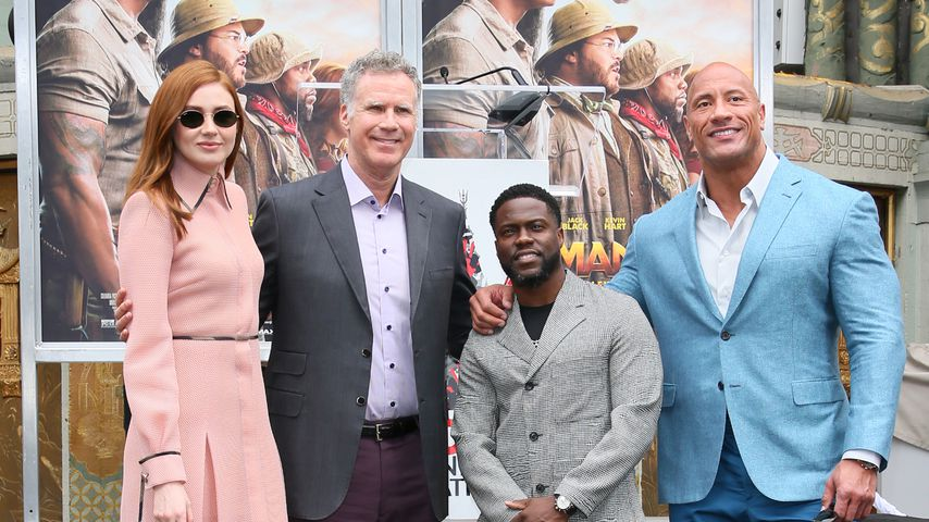 Karen Gillan, Will Ferrell, Kevin Hart und Dwayne Johnson im Dezember 2019