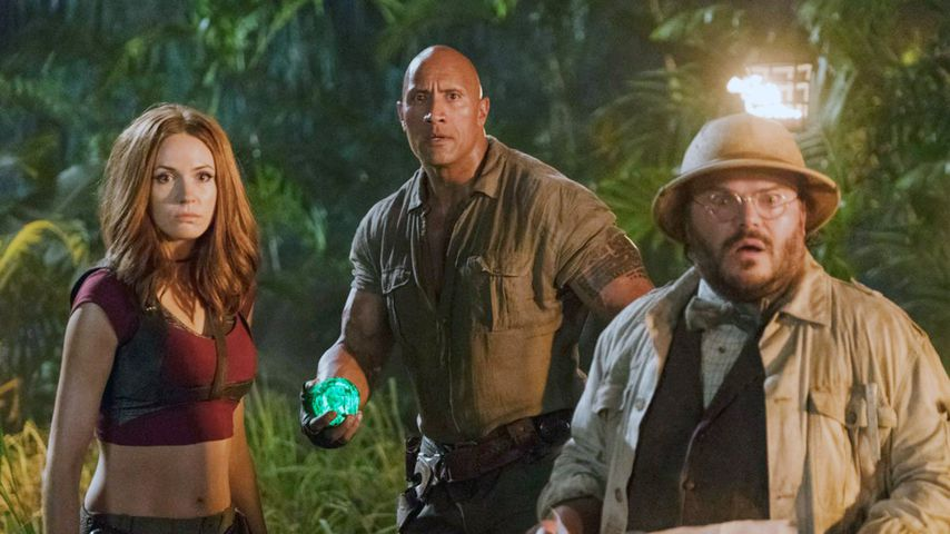 "Karen Gillian, Dwayne Johnson und Jack Black in ""Jumanji: The Next Level"""