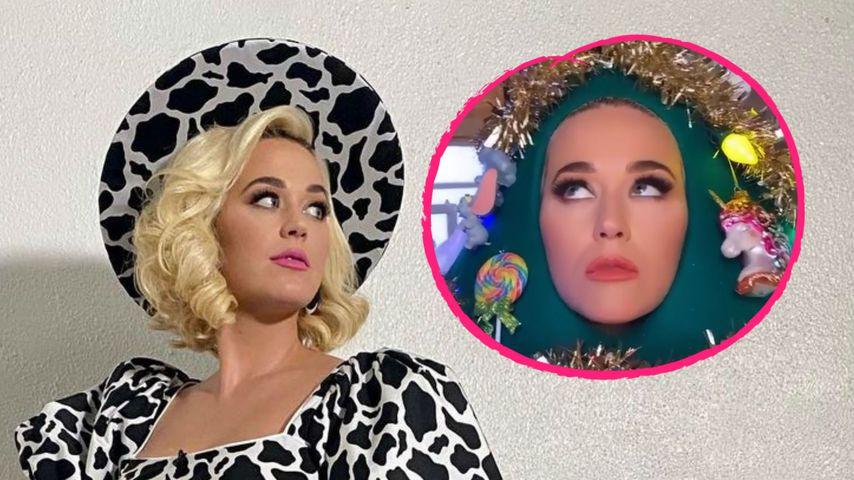 Verrückt: Hier verkleidet sich Katy Perry als Weihnachtsbaum