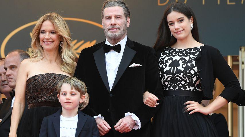 Kelly Preston, John Travolta und ihre Kinder Ella Bleu und Benjamin im Mai 2018 in Cannes