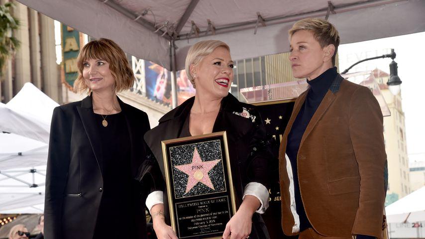 Keri Kenney-Silver, Pink und Ellen Degeneres bei Pinks Walk-of-Fame-Zeremonie
