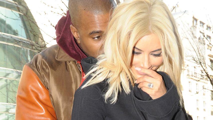 Seltener Anblick: Kanye West knuddelt blonde Kim