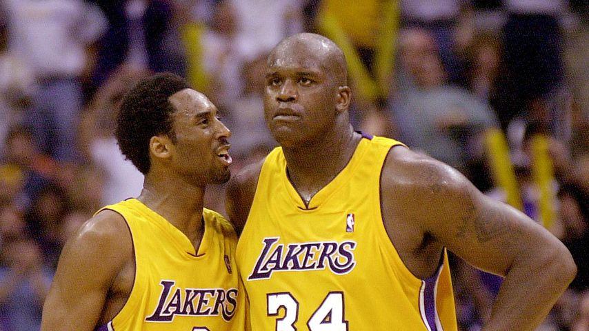 Kobe Bryant mit seinem Teamkollegen Shaquille O'Neal, April 2001