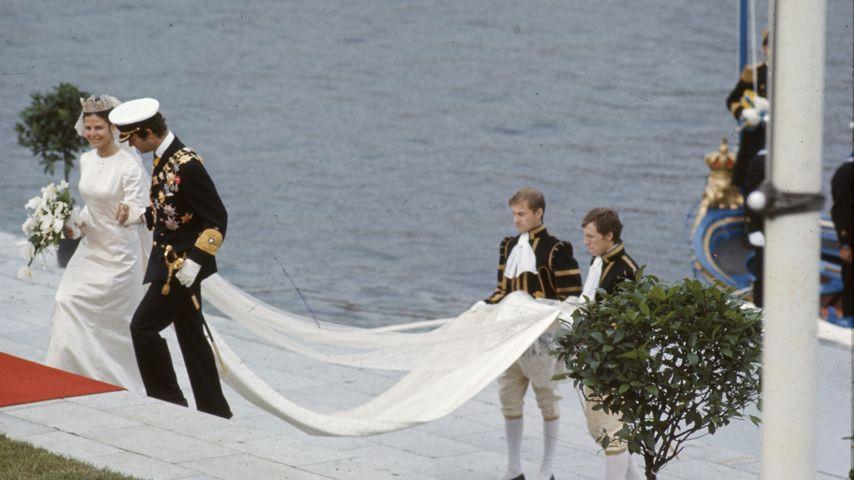 Königin Silvia und König Carl Gustaf bei ihrer Hochzeit 1976