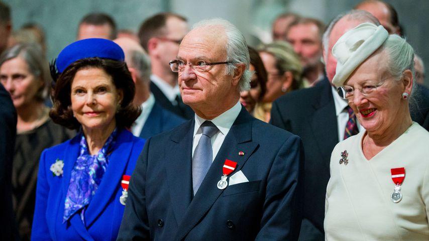 Königin Silvia und König Carl Gustaf von Schweden mit Königin Margrethe von Dänemark