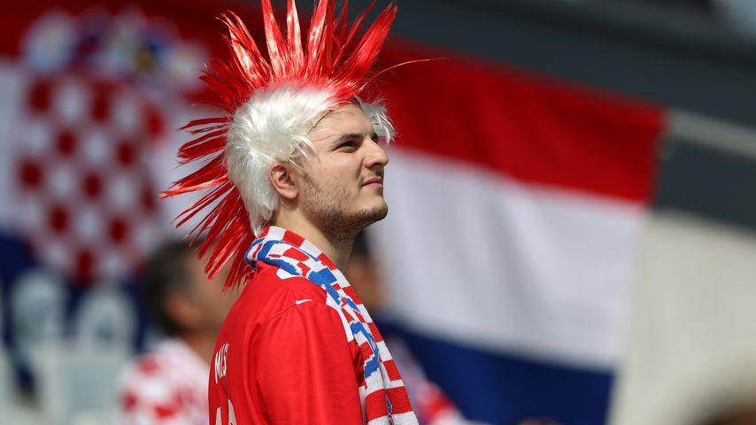 Kroatien-Fan bei der EM 2016 Spiel Tschechien gegen Kroatien
