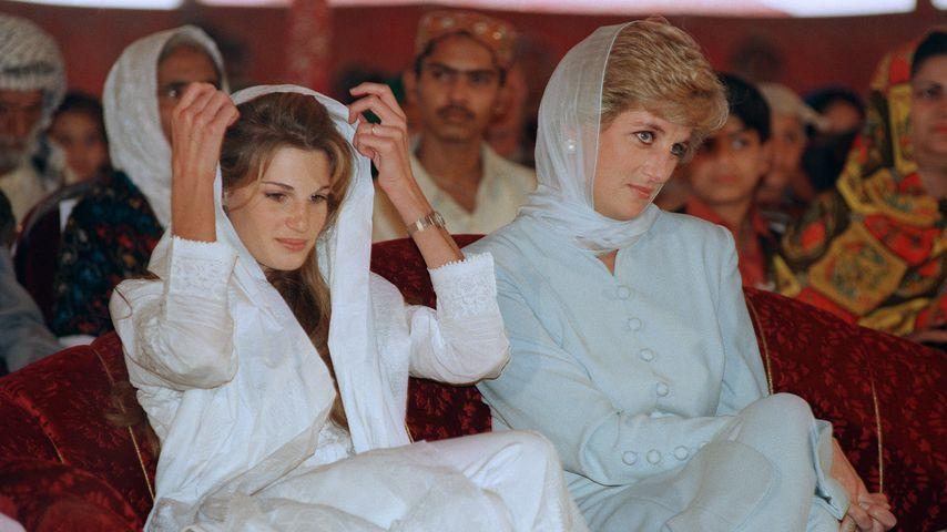 Lady Diana mit der Frau des pakistanischen Cricketspielers Imran Khan, 1996