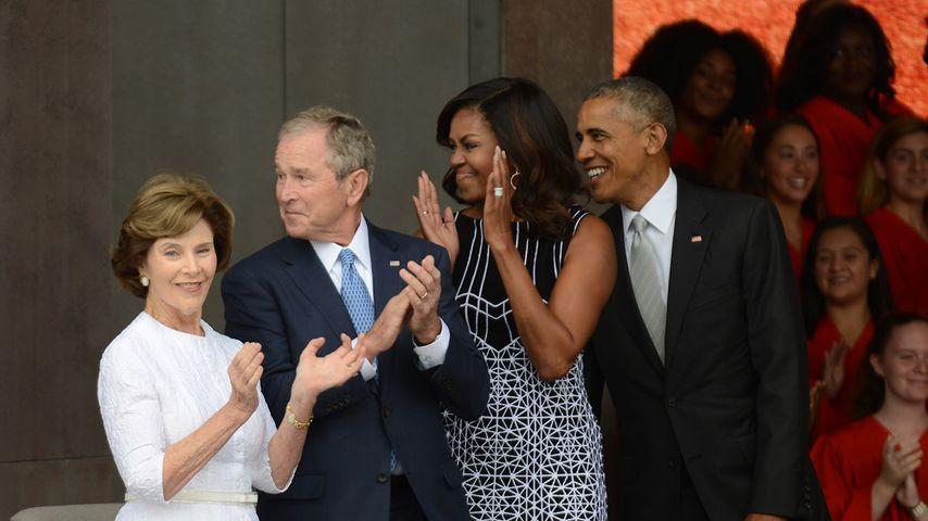Laura Bush, George W. Bush, Michelle Obama und Barack Obama in Washington