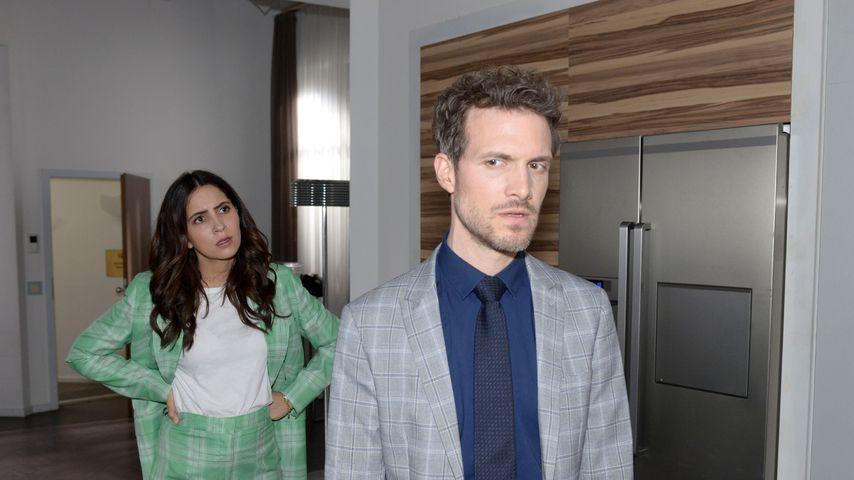 """Laura (Chryssanthi Kavazi) und Felix (Thaddäus Meilinger) bei """"Gute Zeiten, schlechte Zeiten"""""""
