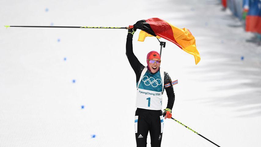 Laura Dahlmeier bei ihrem Sieg bei den Olympischen Winterspielen 2018
