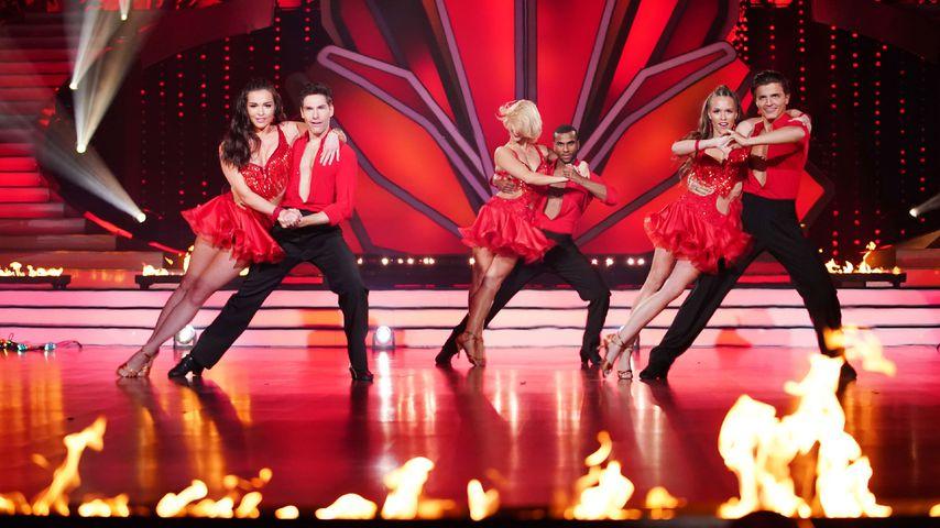 "Laura Müller (r.), Tijan Njie (M.) und Lili Paul-Roncalli (l.) bei ""Let's Dance"""