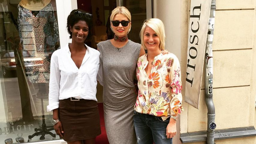 "Lena Gercke mit ""The Voice of Germany""-Kandidatin Vera (l.) und ihrer Chefin (r.)"