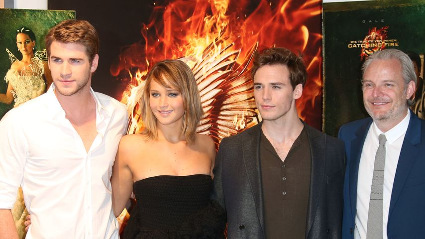 Liam Hemsworth, Jennifer Lawrence, Sam Claflin und Francis Lawrence