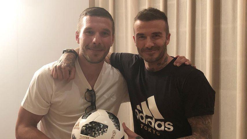 WM-Buddys: Poldi und David Beckham posieren für Bro-Pic!