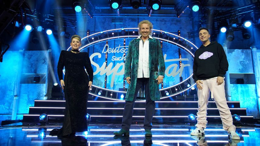Maite Kelly, Thomas Gottschalk und Mike Singer im DSDS-Halbfinale