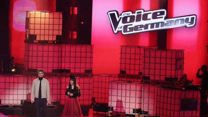 """Marc Forster und Jessica Schaffler bei dem Finale von """"The Voice of Germany"""", 2018"""