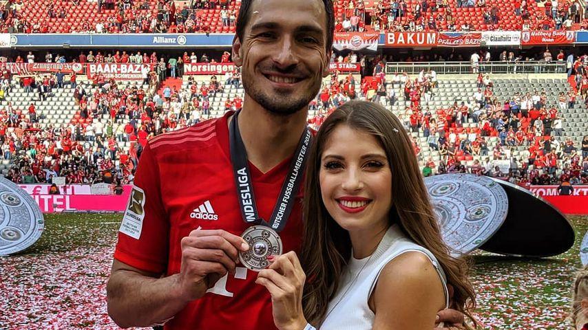Mats und Cathy Hummels bei der Meisterfeier des FC Bayern, Mai 2019
