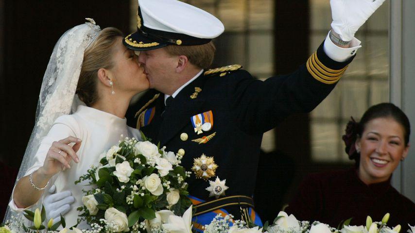 Máxima und Willem-Alexander nach ihrer Trauung 2002