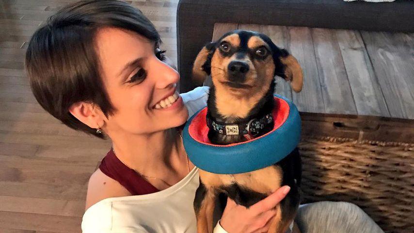 Meagan Duhamel mit ihrem Hund Mootae