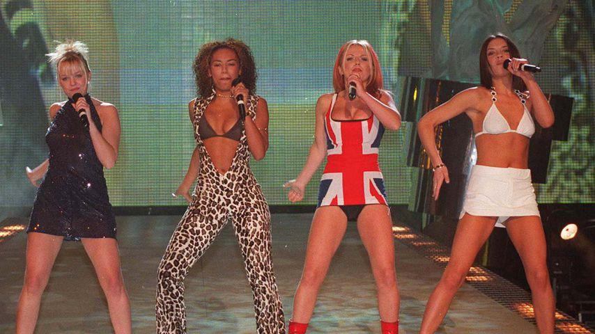 Melanie C., Emma Bunton, Mel B., Geri Horner und Victoria Beckham, 1997 in London