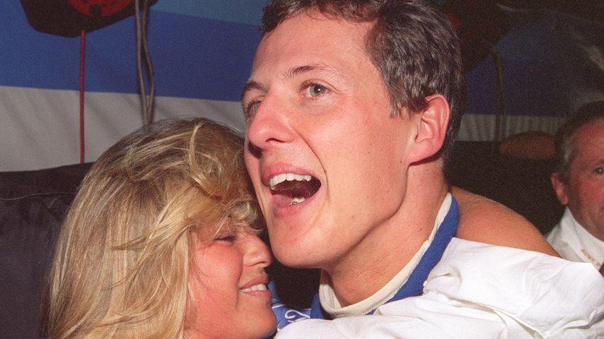 Michael Schumacher und Ehefrau Corinna 1994 nach seinem ersten F1-Weltmeistersieg