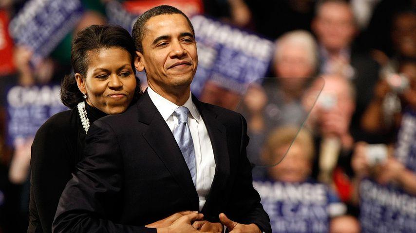 Michelle und Barack Obama bei einer Rede in New Hampshire, 2008