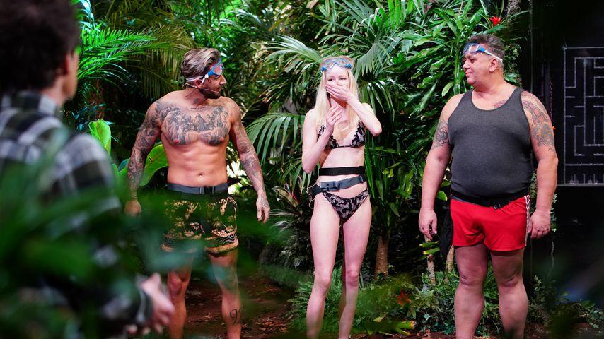 Mike Heiter, Zoe Saip und Frank Fussbroich bei der Dschungel-Prüfung